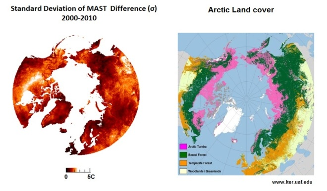 climate change; permafrost; pan-arctic; remote sensing; spaceborne; MODIS; cooling degree days; interannual variability;
